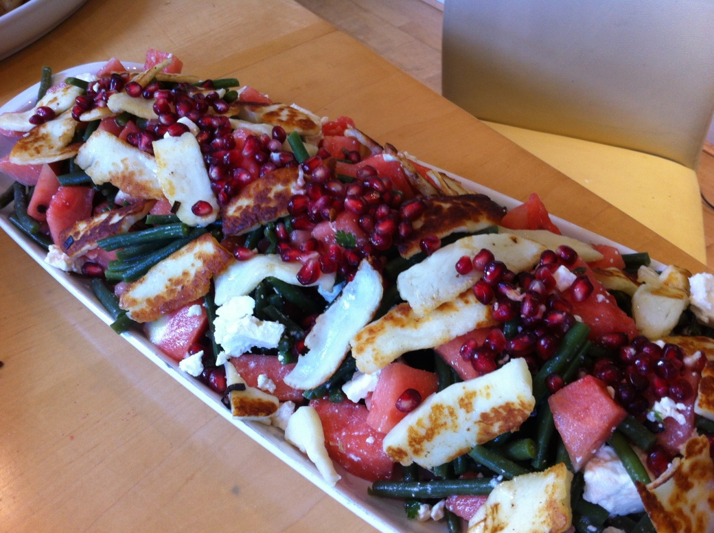 pomegranate & halloumi salad